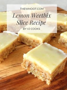 Weetabix Recipes Lemon Weetbix Slice Recipe Is Delicious - Weetabix Recipes Lemon Weetbix Slice Recipe Is Scrumptious This recipe yields 24 slices and based mostly on Vanya, it's 10 minutes prep and Tray Bake Recipes, Baking Recipes, Dessert Recipes, Dessert Food, No Cook Recipes, Apple Cake Recipes, Lunch Box Recipes, Baking Ideas, Weetabix Recipes