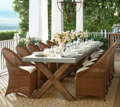 At Home With Bill And Giuliana Rancic Wicker Chairs Wood Table Dining Area