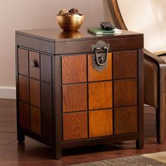 Trunk End Table Side Mission Accent Veneer Wood Storage Living Room Furniture  #HarperBlvd #Mission #Trunk #Storage #LivingRoom #Furniture