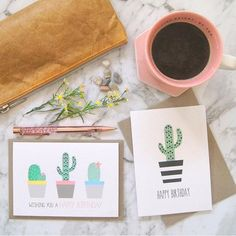 {FEMALE BIRTHDAY CARDS} Cacti 🌵 in pots. Stylish cards for mum, aunty, sisters and friends.⠀ ⠀ #handmadecard #birthdaycard #birthday #cactus #cacti