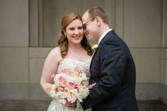 DC couple portraits rain plan, garden bridal bouquet with sweet peas, garden roses, peonies NMWA DC Wedding by Lisa Boggs Photography