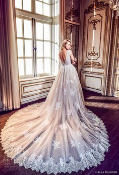 calla blanche fall 2017 bridal cap sleeves v neck heavily embellished bodice romantic blush color a  line wedding dress open v back royal train (43) bv -- Calla Blanche Fall 2017 Wedding Dresses