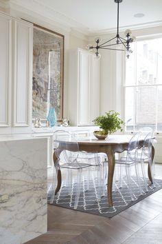 modo chandelier, panelled kitchen, chevron parquet, victorian detailing, paonazza marble, ghost chair #blakeslondon - www.blakeslondon.com