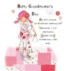 EmilyButtonGrandparentsDay Happy Grandparents Day, Felt Purse, Little Girls, Illustrations, Make It Yourself, Stitch, Button, Sweet, How To Make