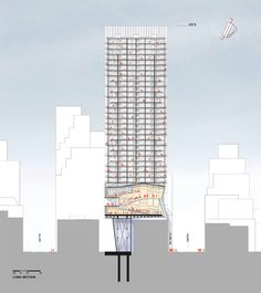 Image 7 of 14 from gallery of Proposal for New York Skyscraper Cantilevers Lobby Over Its Neighbors. Photograph by Fundamental Section Drawing Architecture, Architecture Magazines, Architecture Plan, Architectural Section, Architectural Drawings, Building Drawing, Roof Detail, Facade Design, 3d Design