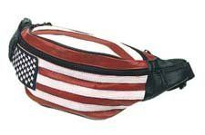 """Genuine Leather USA Flag Fanny Pack, Stars & Stripes Waist Bag or Belt Bag. Great for Travel or Everyday Use. Made of Soft and durable cow hide leather. Measures 10"""" x 5"""". Adjutable belt loop up to 50"""". Features 5 Zippered Pockets."""
