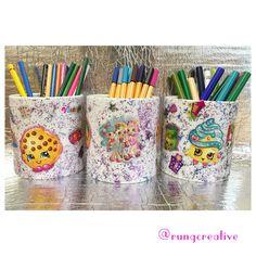 Here is our homemade Shopkins Pen Pots @shopkins_world #shopkins #art #craft #creative #kid #fun #activity #creativity #design #ideas #happy #stickers #cute #pen #pot