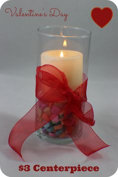 Check out my $3 Valentine's Day centerpiece! SO easy to make!! #valentinesday #holidays #craft