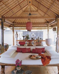 Bali-outdoor- Elle decor. Indonesian teak furnishings, Indonesian accents Bali weft ikat - love it all ! Visit gadogado.com for a fine selection of teak furnishings from Indonesia.