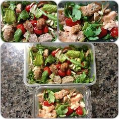 What my on the go no carb meals look like. Simple! Baby Arugula Salads! One with turkey meat balls and the other with already prepped salmon. Added grape tomatoes, slithered almonds and used Light Champagne Vinaigrette salad dressing from Trader Joes!