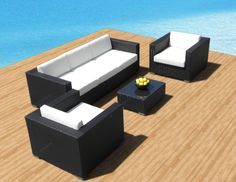 Outdoor Patio Furniture Sofa AllWeather Wicker Sectional 4pc Resin Couch Set -- See this great product. (This is an affiliate link) #OutdoorFurniture