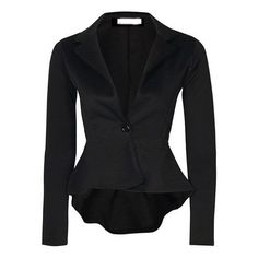 Black Lapel Peplum Hem Blazer ($15) ❤ liked on Polyvore