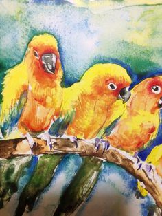 5 EXOTIC BIRDS, watercolor painting print on Etsy, £9.05