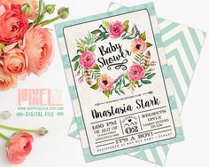 Tea Stained Watercolor Floral Baby Shower by shopPIXELSTIX on Etsy