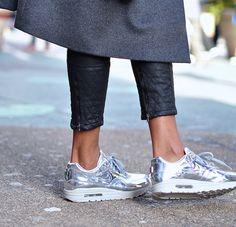 silver sneakers #Nike