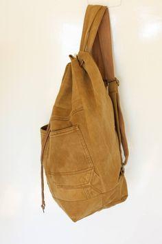 denim backpack upcycled denim jeans bag drawstring bucket bag | Etsy