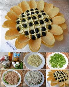 DIY Chips Sunflower Salad Is Perfect for Party - Salat Party Cooler, Aperitivos Finger Food, Sunflower Party, Chips, Egg Salad Sandwiches, Sandwich Cake, Snacks Für Party, Food Decoration, Food Platters