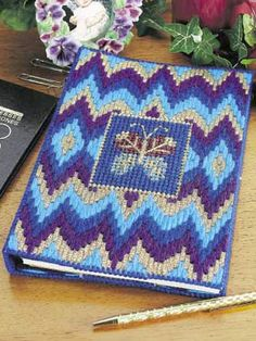 Plastic Canvas - Accessories - Decorations & Knickknacks - Butterfly Bargello Notebook - #FP00014