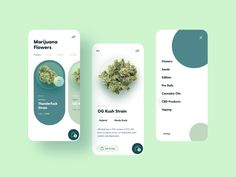Marijuana Store Mobile App by Dalibor Hajdinjak for kreatıva on Dribbble - Design Web Design, App Ui Design, User Interface Design, Flat Design, Store Mobile, Mobile App, Mobile Code, Application Ui Design, Conception D'applications