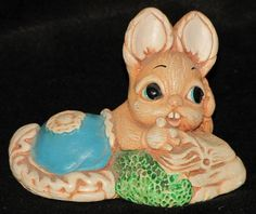 Vintage Pendelfin England Stonecraft Bunny Figurine Reading a Book