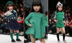 Mini fashionistas showcase their modelling credentials as they take to the catwalk at China Fashion Week Strike pose Mini-fashionistas showcase modelling credentials catwalk China Fashion Week.