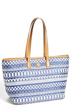 Tory Burch 'Stripe - Small' Straw Tote available at #Nordstrom