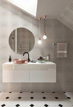"""#cuba na lateral da pedra"""" 10 banheiros P&B para se inspirar!"""