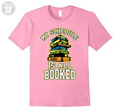 Mens Funny Book Lover T-shirt - My Schedule Is All Booked Tee Small Pink - Funny shirts (*Amazon Partner-Link)