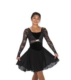 97fc227849 Luxuriously appointed black ice dance dress with long glitter lace sleeves