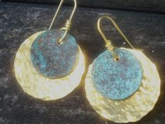 Hammered Brass and Patina Earrings Holiday by YMBlueOriginals, $24.00