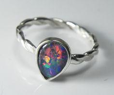 Opal Ring - Genuine Opal Stack Ring - Stacking Ring - Real Black Opal Triplet Jewelry - Sterling Silver AAA Opal Triplet- Fiery Rainbow