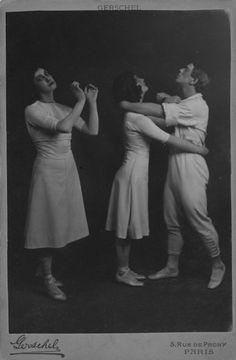 Tamara Karsavina, Ludmila Schollar and Vaslav Nijinsky in Jeux, 1913. Photo by Charles Gerschel