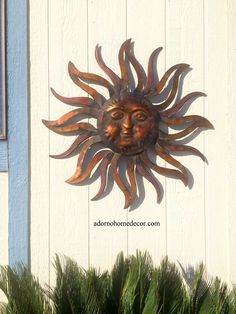 Details About Large Metal Sun Wall Decor Rustic Garden Art Indoor Outdoor Patio  Wall Sculpture