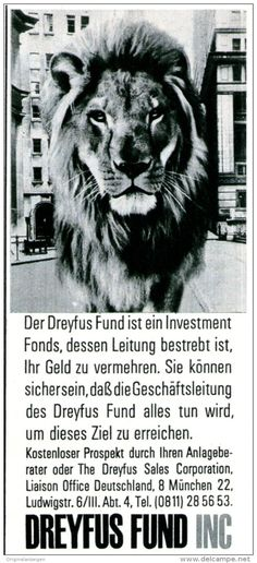 Original-Werbung/ Anzeige 1969 - DREYFUS FUND / MOTIV LÖWE - ca. 55 x 115 mm