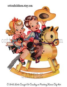 Little Vintage Cowgirl and Cowboy on Rocking Horse Clip Art C-345 Digital Download for Personal and Commercial Use