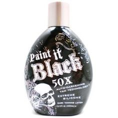 Paint it black 50x Indoor Tanning bed lotion by Millennium Tanning Products. $16.88. Skin Firming. Auto Bronzer. Unique Auto-Darkening Tan Technology delivers extreme dark bronze tanning results through its super luxurious silicone emulsion blend. Experience stunning dark tan color and ultra moisturization that lasts all day. Accelerating, Bronzing, Skin Firming, Silicone Emulsion Fragrance: Fresh and Clean Cotton Blossom