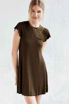 BDG Cap-Sleeve Camper Pocket Rib Dress