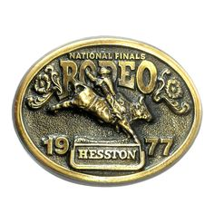 Hesston 1977 National Finals Rodeo 3D Brass Belt Buckle