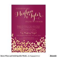 Wedding Bouquet Berry Wine and Gold Sparkle Wedding Card - Shop Berry Wine and Gold Sparkle Wedding Invitation created by happygotimes. Personalize it with photos Wedding Reception Flowers, Fall Wedding Colors, Wedding Bouquets, Wedding Ideas, Trendy Wedding, Wedding Dresses, Diy Wedding, Dream Wedding, Wedding Inspiration