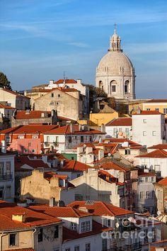 City of Lisbon in Portugal, picturesque old houses in the Alfama District, sunset time. #lisbon #lisboa #city #capitalcity #portugal #cityscape #skyline #citytrip #citybreak #alfama #houses #artprint #europe #buildings #urban #urbanlandscape #oldtown #portuguese #homes