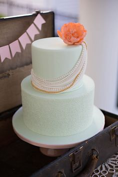 Lovely cake at a Southern Tea Party Wedding #wedding #teapartycake