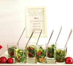 Salad served in shot glasses - Champagne and Caviar Dreams