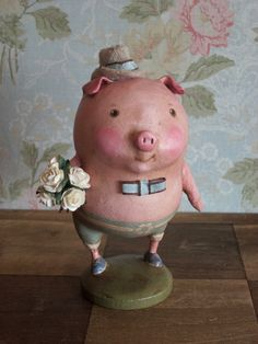 OOAK Pig Folk Art -- Romance the Old Fashioned Country Way