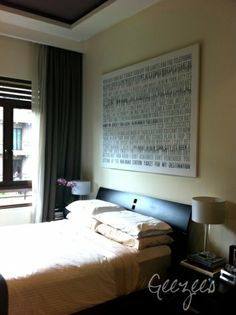 large distressed canvas word art over bed with YOUR favorite song / lyrics WALL ART