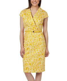Mustard & White Geometric Belted Surplice Dress #zulily #zulilyfinds