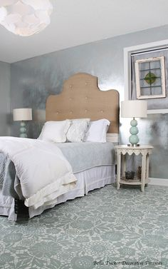 Love the metallic wall. Bella Tucker Decorative Finishes painted this floor using Royal Design Studios Skylar's Lace Stencil and Annie Sloan Chalk Paint. Bedroom Flooring, Bedroom Wall, Bedroom Ideas, Budget Bedroom, Master Bedroom, Painted Floors, Painted Furniture, Concrete Furniture, Kid Furniture
