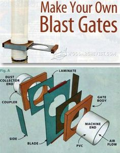 DIY Blast Gate - Dust Collection Tips, Jigs and Fixtures | http://WoodArchivist.com