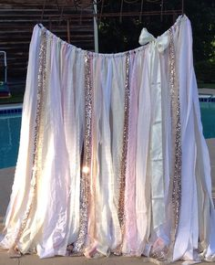 Blush and Rose Gold Sequin ribbon garland  6 x 6 backdrop curtain Sparkly Glitter Blush Pink Ivory White