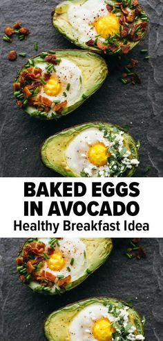 Baked eggs in avocado are an easy and healthy breakfast idea that's easily customizable! #breakfastidea #easybreakfast #avocadorecipe #avocado #keto #whole30 #glutenfree Avocado Recipes, Egg Recipes, Brunch Recipes, Breakfast Recipes, Good Healthy Recipes, Whole 30 Recipes, Low Carb Protein, Whole 30 Breakfast, Baked Eggs