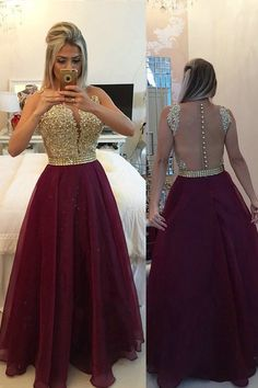 Illusion+V-neck+Sleeveless+Burgundy+Prom/Evening+Dress+With+Appliques+Buttons